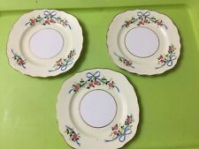 "3x Colclough China Ribbons & Roses 6"" Diameter Side Plate,Gilded"