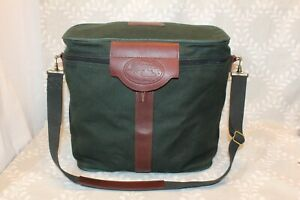 JW Hulme Green Canvas & Leather Tote Overnight Carry on Bag w Shoulder Strap EUC