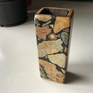 Gotlandskt Fossilarbete fran Kvarnboden Small Stone Mid Century Vase Sweden