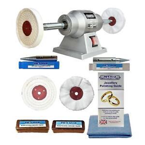 "Jewellery Polishing Machine Bench Grinder 6"" 150W & 4""  Jewellery Polishing Kit"