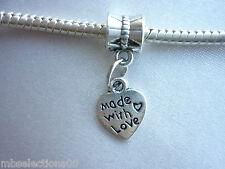 1x Tibetan Silver Heart ' Made with Love ' Pendant Charm fit European Bracelet