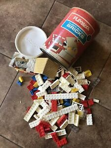 Vintage Playskool Building Bricks In Canister With Directions