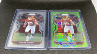 Lot x2 Chase Young 2020 Prizm Rookie NEON GREEN PULSAR!!! REDSKINS NFL Card