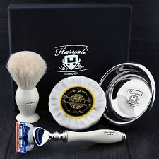 GILLETTE FUSION RAZOR WITH BADGER SHAVING BRUSH,SOAP AND BOWL GIFT SET FOR MEN'S