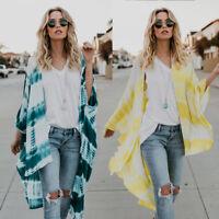 AU Summer Plus Size Women Chiffon Casual Loose Lady Kimono Cardigans Blouse Tops
