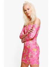 Vestiti da donna maniche a 3/4 rosa con fantasia floreale