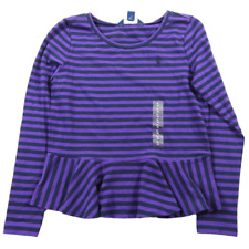 NEW Ralph Lauren Purple & Navy Blue Striped Long Sleeve Tee Shirt Girls XL 16