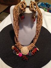 "Beaded Earring/Necklace Set 13"" Handmade Wood"