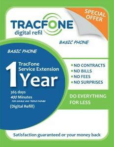 Tracfone Service Extension 1Year/400Minutes/For Double and Triple Phones Digital