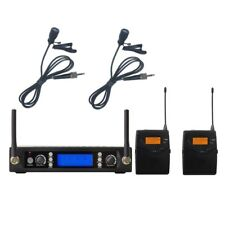 UHF Dual Wireless Lavaier Lapel Microphone System Professional Vocal Microphones