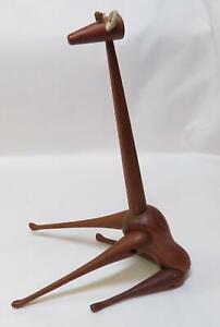 "MCM Mid Century Danish Modern Bojesen Style Jointed Teak Wood 9"" Giraffe Figure"