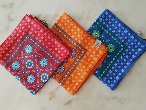 Fiorio Milano Pocket Square Handkerchief Blue/Orange/Red Italian Linen Handmade