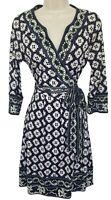 Diane Von Furstenberg Joel Silk 3/4 Sleeve Jersey Wrap Dress Purple Black Size 6