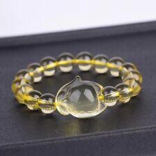 Genuine Natural Citrine Quartz Crystal Fox Pendant Round Beads Bracelet 8mm AAAA