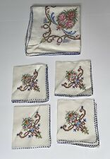 Fab Antique Early Cross Stitch Embroidered Table Cloth & 4 napkins Set
