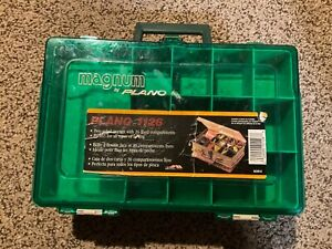 """Pre Owned. Plano Tackle Box. 12.5"""" X 8.5"""" X 4"""". Green & Tan. scratched.  1126"""