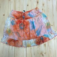 Wrapper Lined Orange blue floral Skirt size Large flowy elastic waist