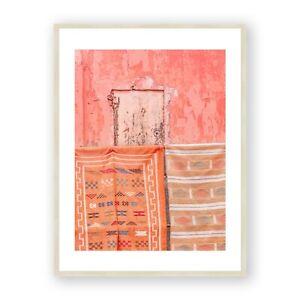Marrakesh Boho Framed Print , Moroccan Towels Wall Art , Pink Building Art Print