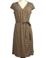 Ann Taylor Loft Womens Faux Wrap Dress SZ 10P Petite Brown Print Short Sleeve