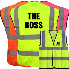 THE BOSS YELLOW HI VIZ VIS WAISTCOAT VEST SAFETY WORKWEAR STAG PARTY BOSS