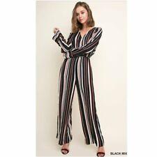 Umgee striped long sleeve jumpsuit women's size large wide leg