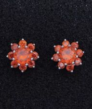 Beautiful Sparkling Crystal Starburst Like Red Garnets Silver Stud Earrings