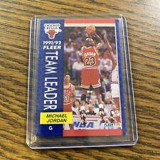 1991-92 Fleer Team Leaders Michael Jordan, Card #375, Chicago Bulls D29