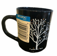 Arcoroc Black Glass Mug with Tree Design France New With Sticker Tag