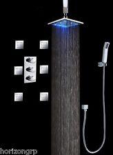 "Thermostatic Shower Valve LED 12""Rain Shower Head Set Body Massage Spray Jets"