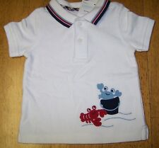 NWT GYMBOREE BEACH CRAWLER WHITE PIQUE POLO SHIRT CRAB 3-6 MO Free US Shipping