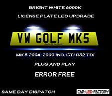 Fit VW Golf MK5 & GTI R32 04-2009 White LED Number Plate Light Bulb *PLUG & PLAY