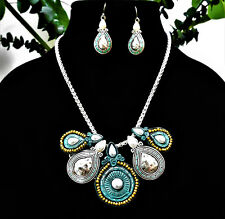Necklace & Matching Earrings Set ~Silver Turquoise & Pearl Statement