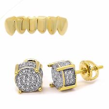Gold Plated 2 Tone ICED Cz Micropave Earring Round Stud Hip Hop w Bottom Grillz