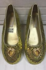 Disney Princess Belle Ballet Shoes Slip Ons Gold Sequins Youth Girls Sz 4-5