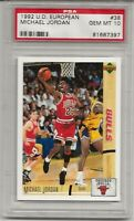 1992 U.D. INTERNATIONAL EUROPEAN #38 MICHAEL JORDAN, PSA 10 GEM MINT, HOF, L@@K