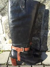 "Tommy Hilfiger Leather Boots Black With Brown Strap 3"" Block Heel Sz. 10"