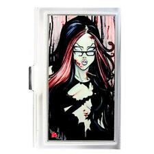ID Case Sexy Ink Girl Librarian Business Card Holder Silver Metal Buckle Down