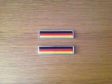 2x GERMANY NATIONAL FLAG METAL BADGE EMBLEMS - BMW - MERCEDES - AUDI - VW