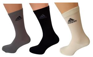 3 Paar Adidas Socken 3 Verschiedene Farben Schwarz/Grau/Creme Größe 41 - 45