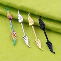 1PCS Angel Wings Straight Body Nipple Rings Jewelry Women Bar Barbell Piercing