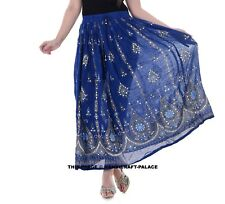 Ladies Indian Party Boho Gypsy Hippie Long Sequin Skirt Rayon Blue color Maxi