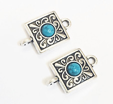 6 antique silver square with Turquoise  connector, antique silver connectors