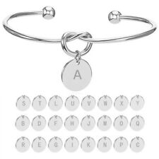 26 Initial Letters Charm Open Bracelet Bangle Cuff Love Knot Alloy Women Jewelry