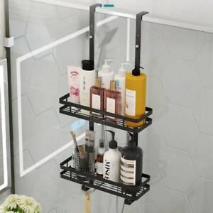 2 Tier Bath Shower Caddy Bathroom Free Hanging Storage Rack Shelf Steel 73CM