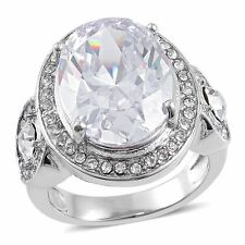 WHITE CRYSTAL & SIMULATED DIAMOND OVAL SOLITAIRE ACCENT ART DECO LOOK RING 9