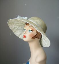 Wide Brim Straw Sunhat / Vtg 80s 90s / Nos Mysha Natural Straw Lace Trim Sunhat
