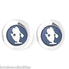 Wedgwood Classic Muse Pierced Earrings, Saxon Blue Round, Silver Nib
