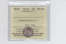 1943C Newfoundland Five Cents ICCS MS-64 - Sale
