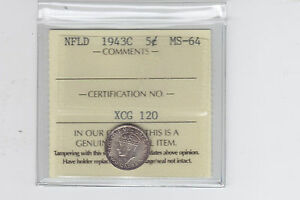1943C Newfoundland Five Cents ICCS MS-64 - Sale
