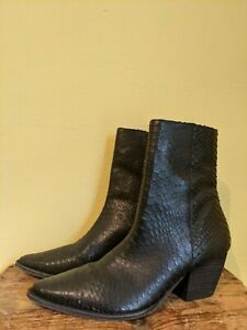 Matisse Caty black leather ankle boot western inspired snake pattern